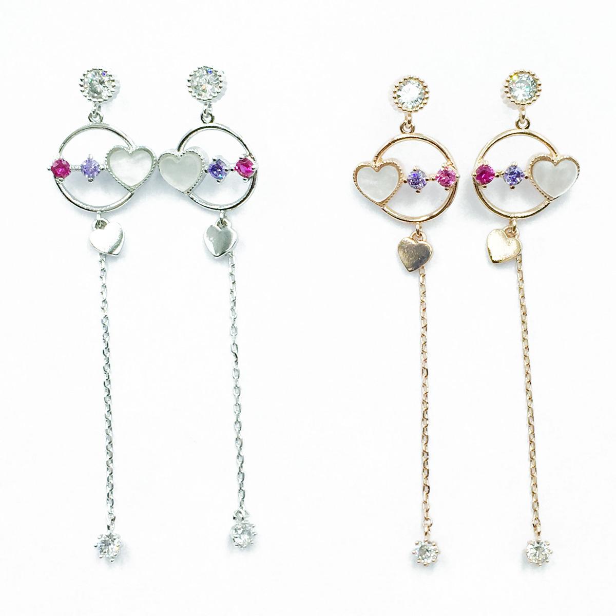韓國 925純銀 水鑽 愛心 精緻款 2色 垂墜感 耳針式耳環