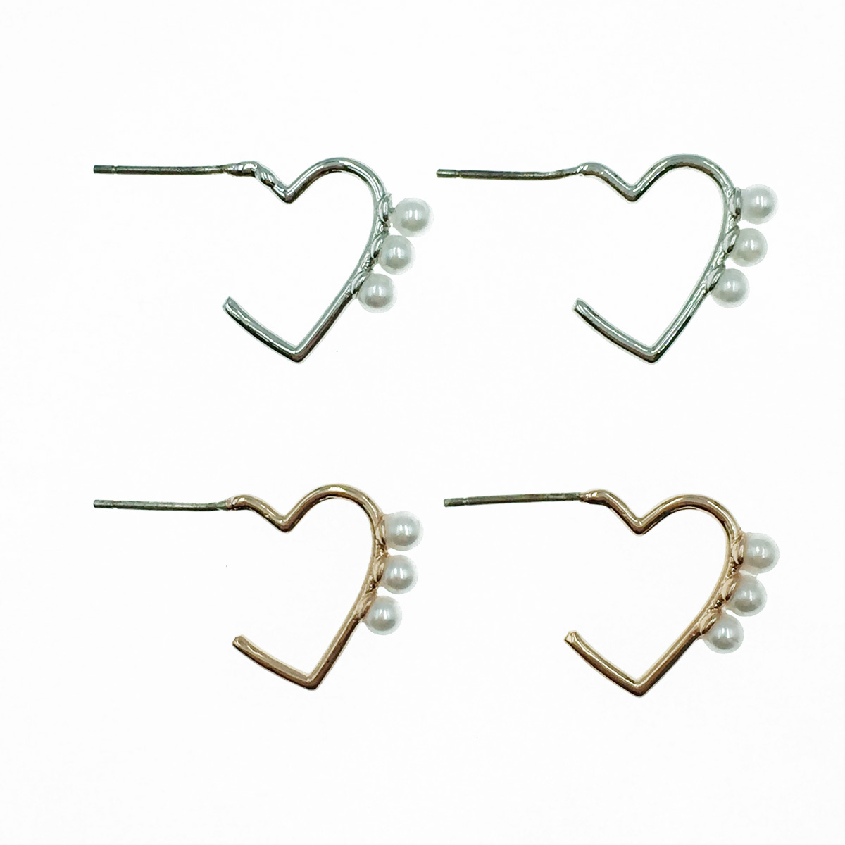 韓國 925純銀 簍空 愛心 珍珠 2色 耳針式耳環