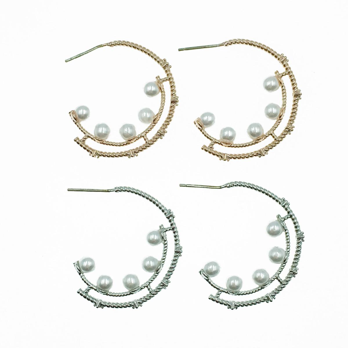 韓國 925純銀 金屬C環圈 氣質珍珠 2色 耳針式耳環