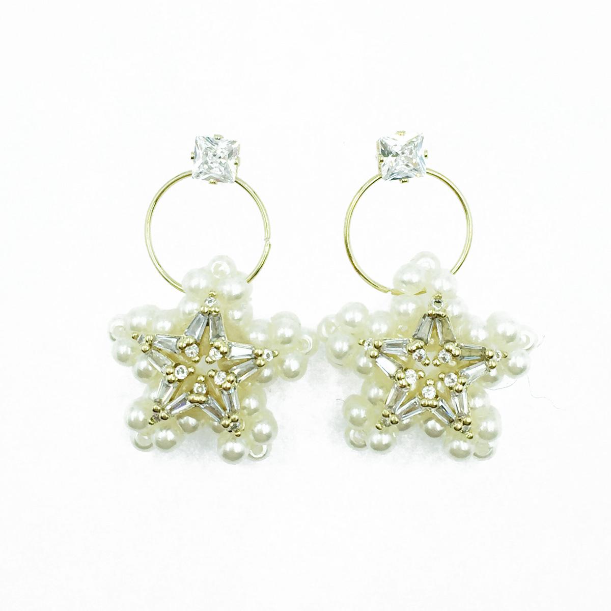 韓國 925純銀 星星 水鑽 珍珠 垂墜感 耳針式耳環