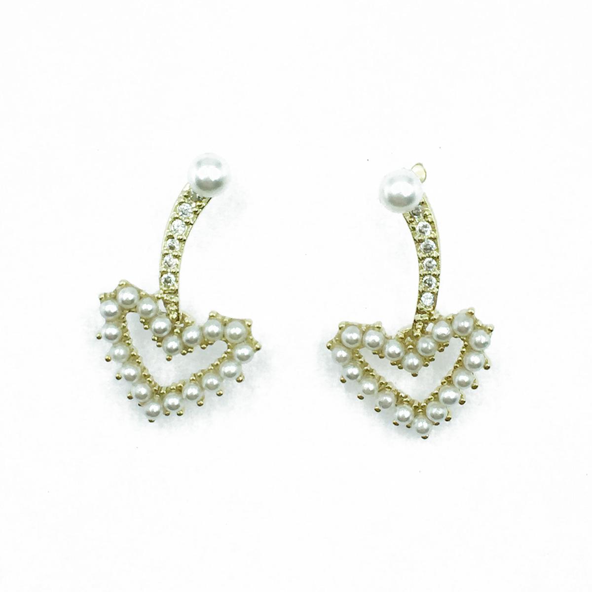 韓國 925純銀 簍空愛心 珍珠 水鑽 耳針式耳環