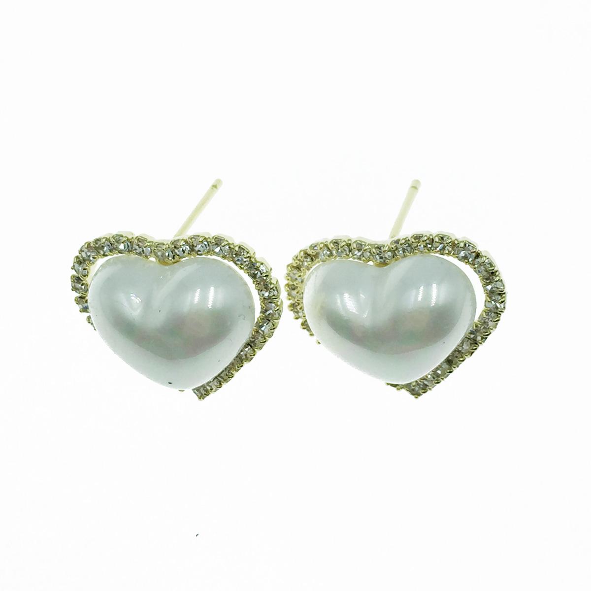 韓國 925純銀 愛心 珍珠 水鑽 甜美風 耳針式耳環