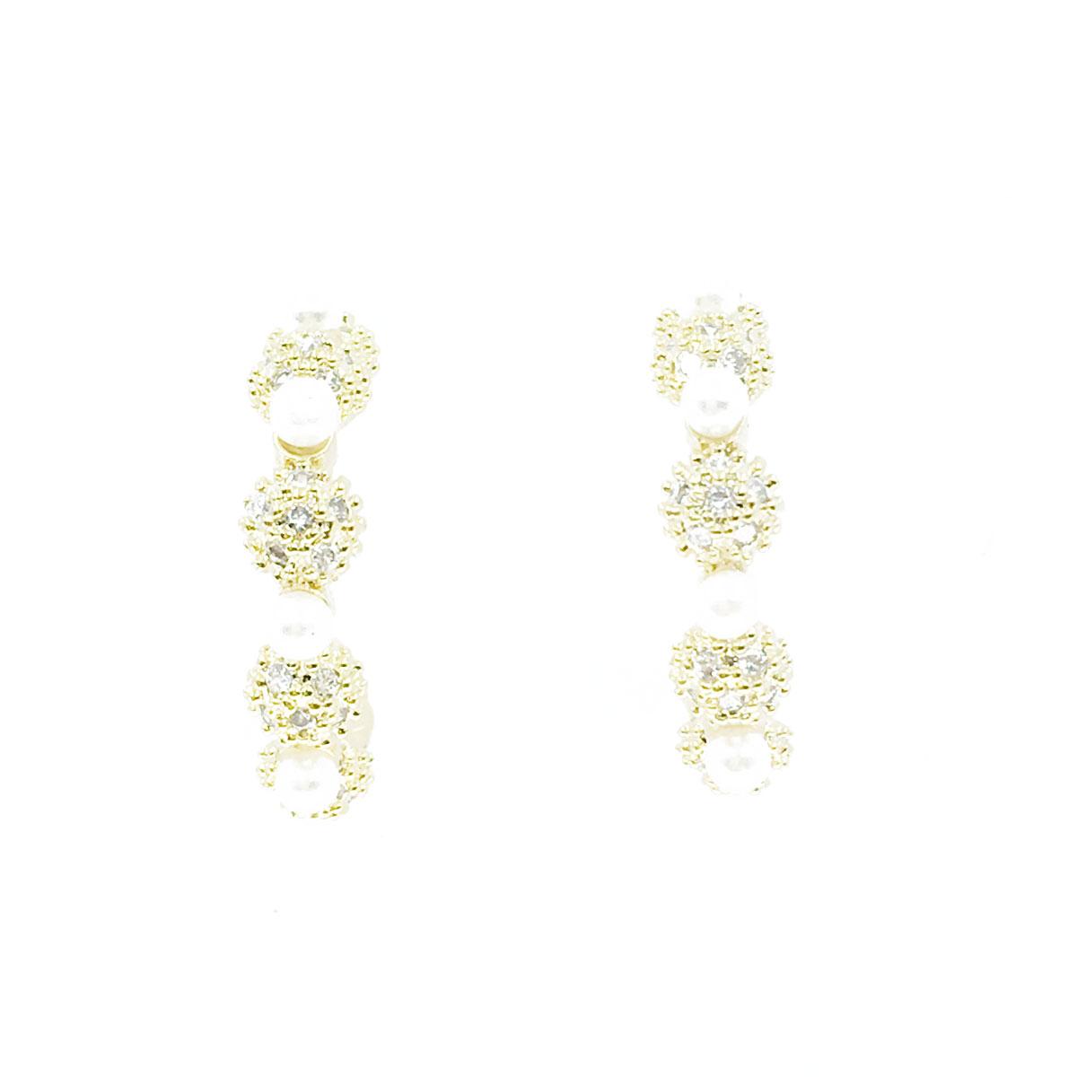 韓國 925純銀 水鑽 珍珠 金邊 耳針式 耳環