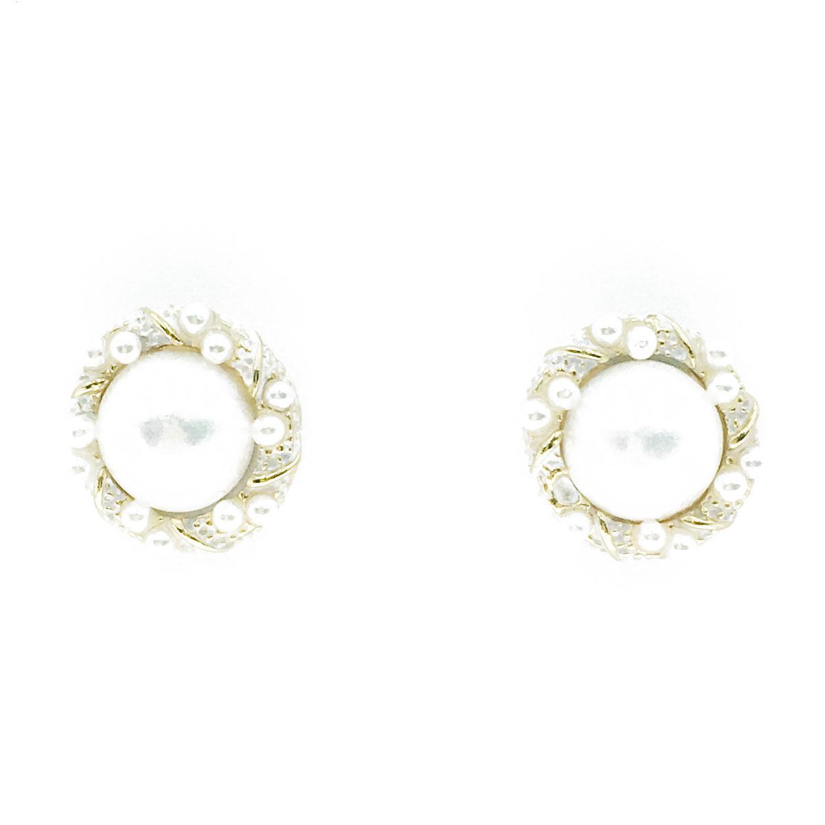 韓國 925純銀 珍珠 金邊 耳針式 耳環