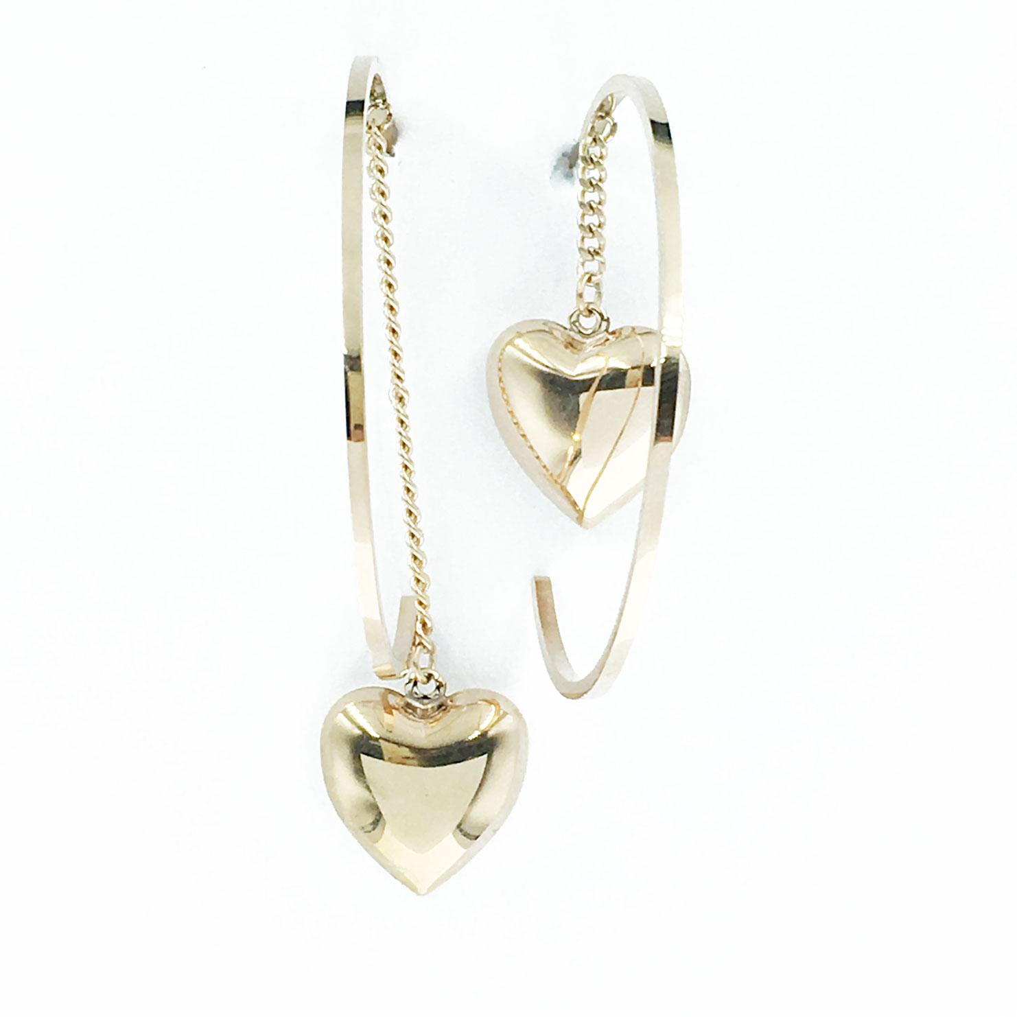 韓國 不銹鋼 愛心 金邊 簡單 不對稱 垂墜感 耳針式 耳環