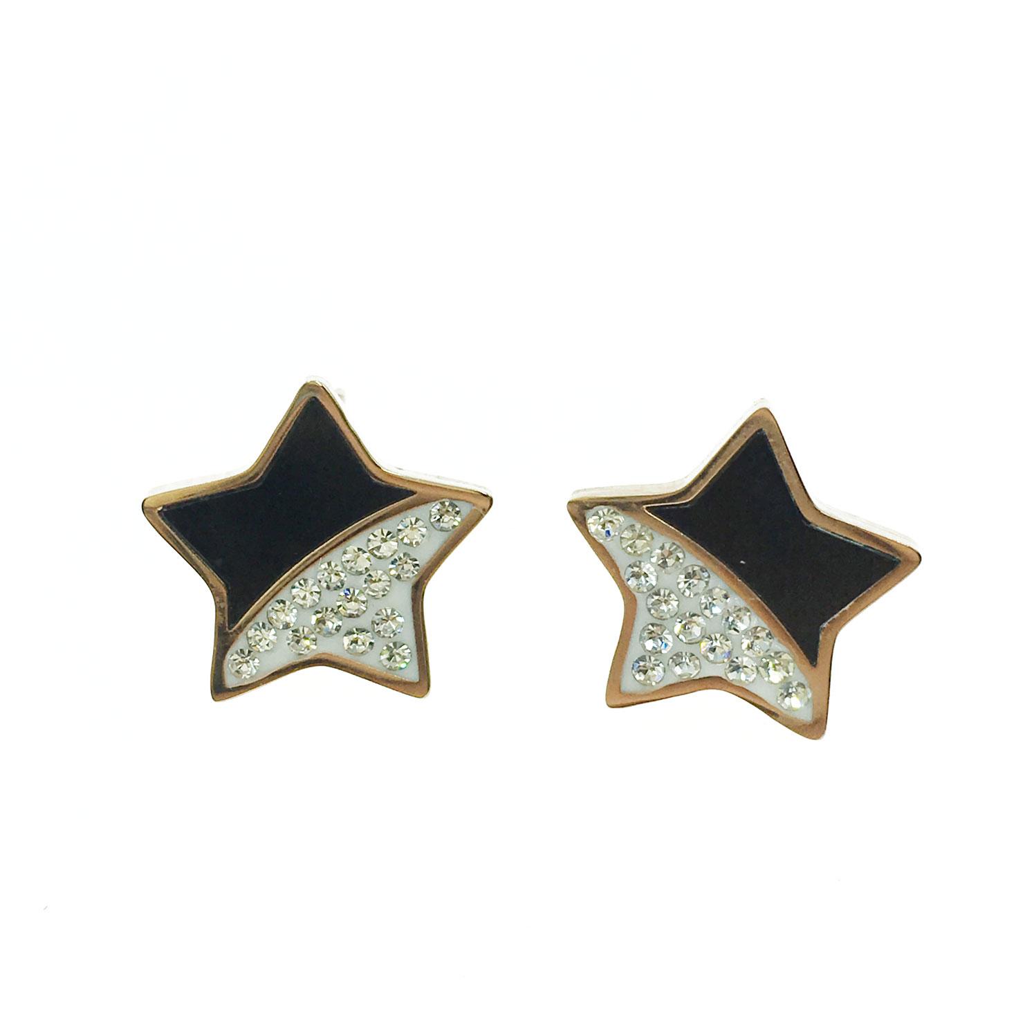 韓國 不銹鋼 水鑽 撞色 星星 金邊 耳針式 耳環
