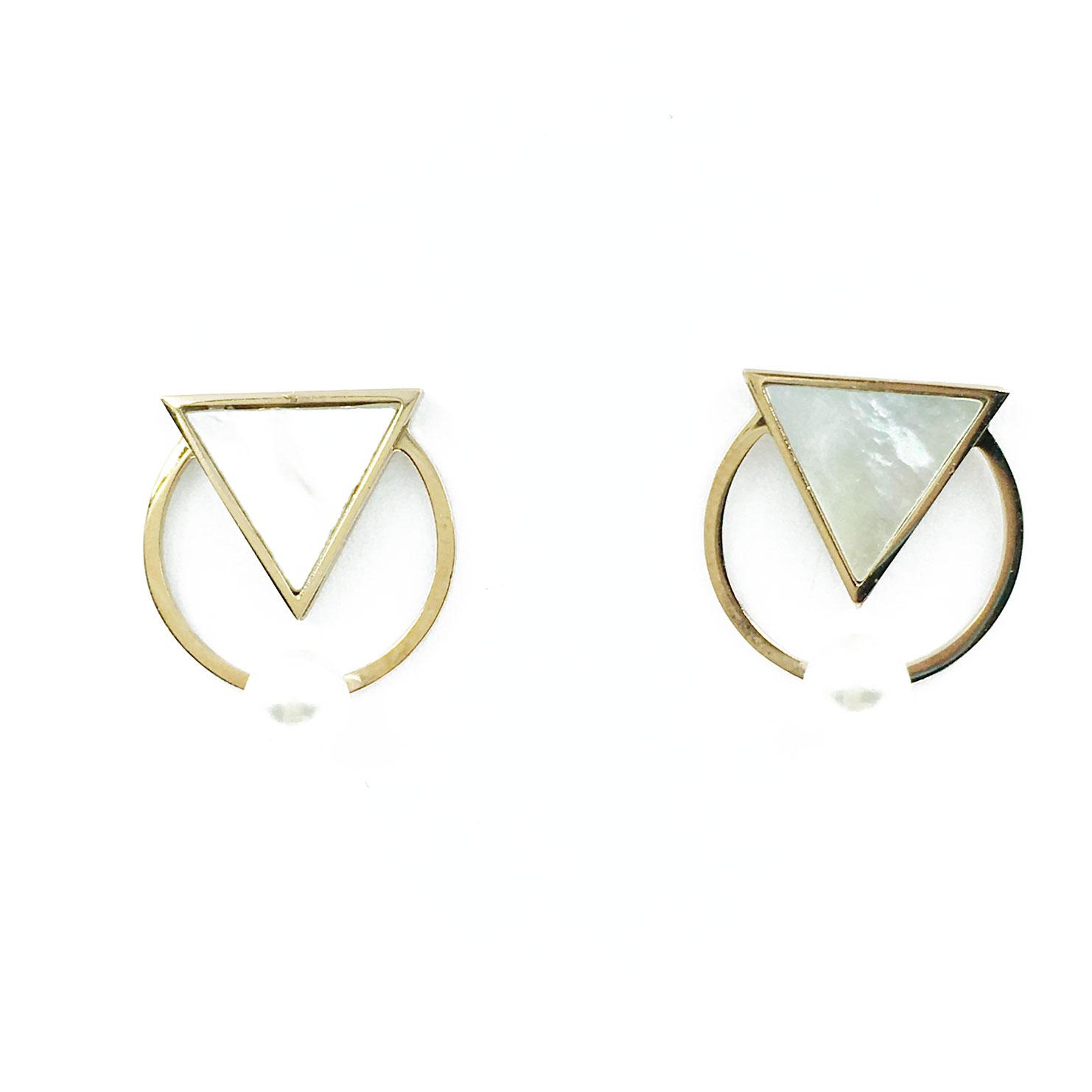 韓國 不銹鋼 珍珠 三角形 金邊 幾何 耳針式 耳環