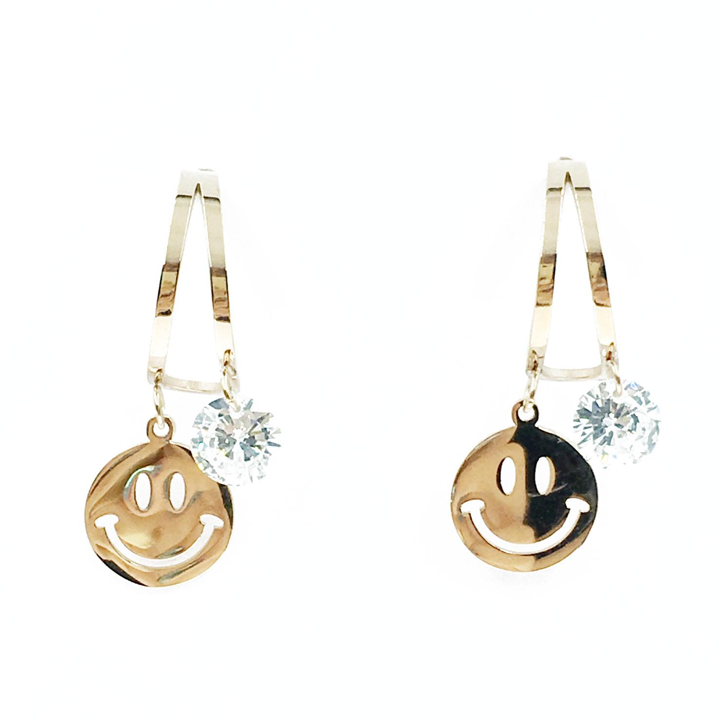 韓國 不銹鋼 水鑽 微笑 金邊 半圓 垂墜感 耳針式 耳環