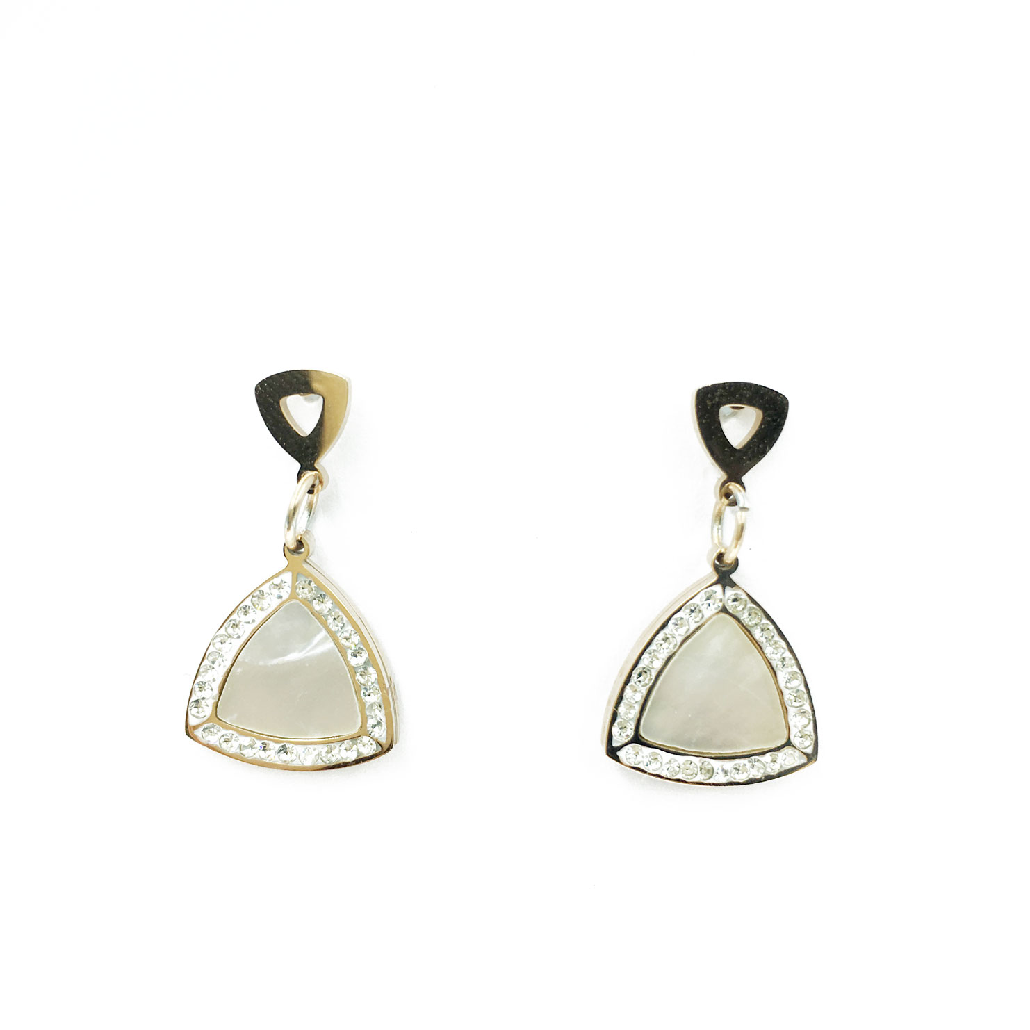 韓國 不銹鋼 水鑽 大理石 三角形 垂墜感 耳針式 耳環