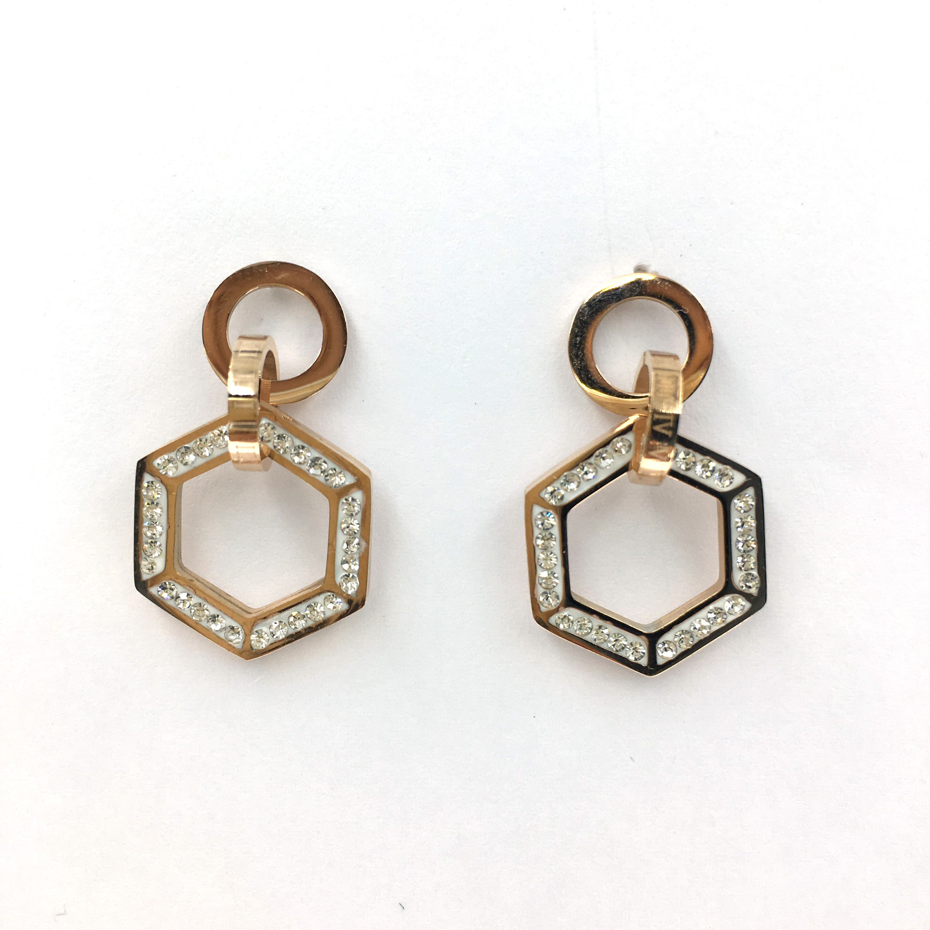韓國 不銹鋼 水鑽 金邊 六角形 圓 垂墜感 耳針式 耳環