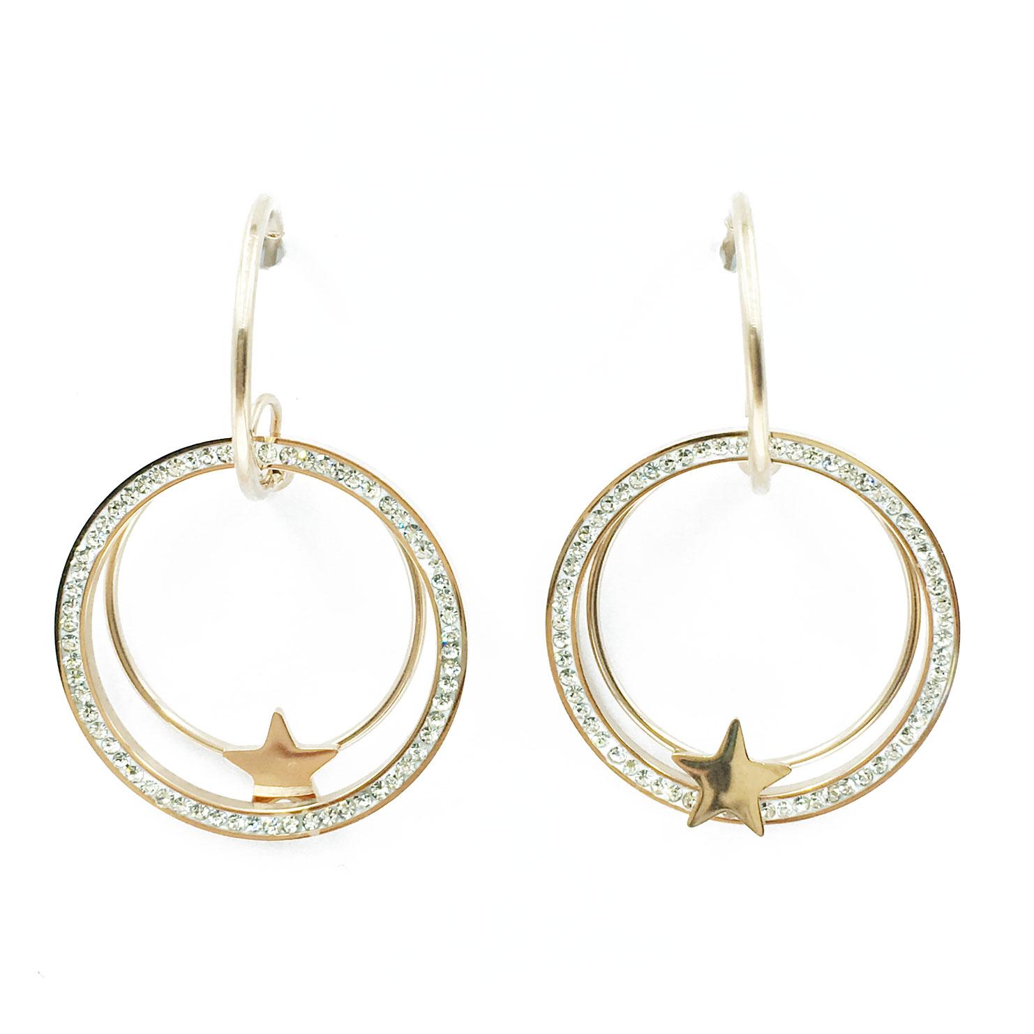 韓國 不銹鋼 水鑽 星星 金邊 圓 垂墜感 耳針式 耳環