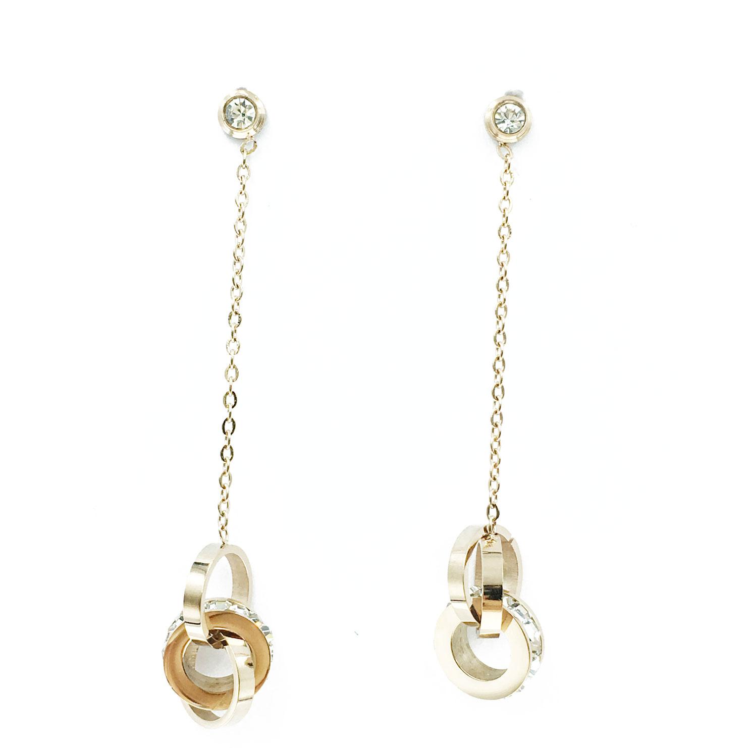 韓國 不銹鋼 水鑽 串圓 垂墜感 耳針式 耳環