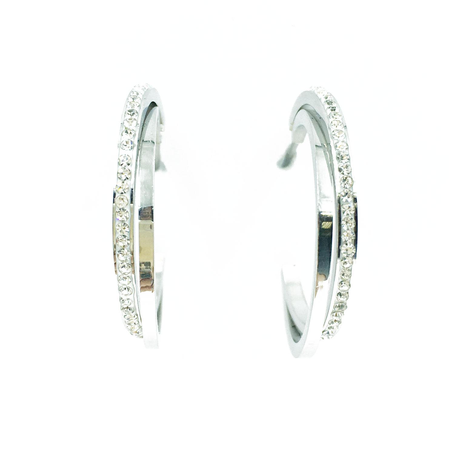 韓國 不銹鋼 水鑽 簡單 銀 耳針式 耳環