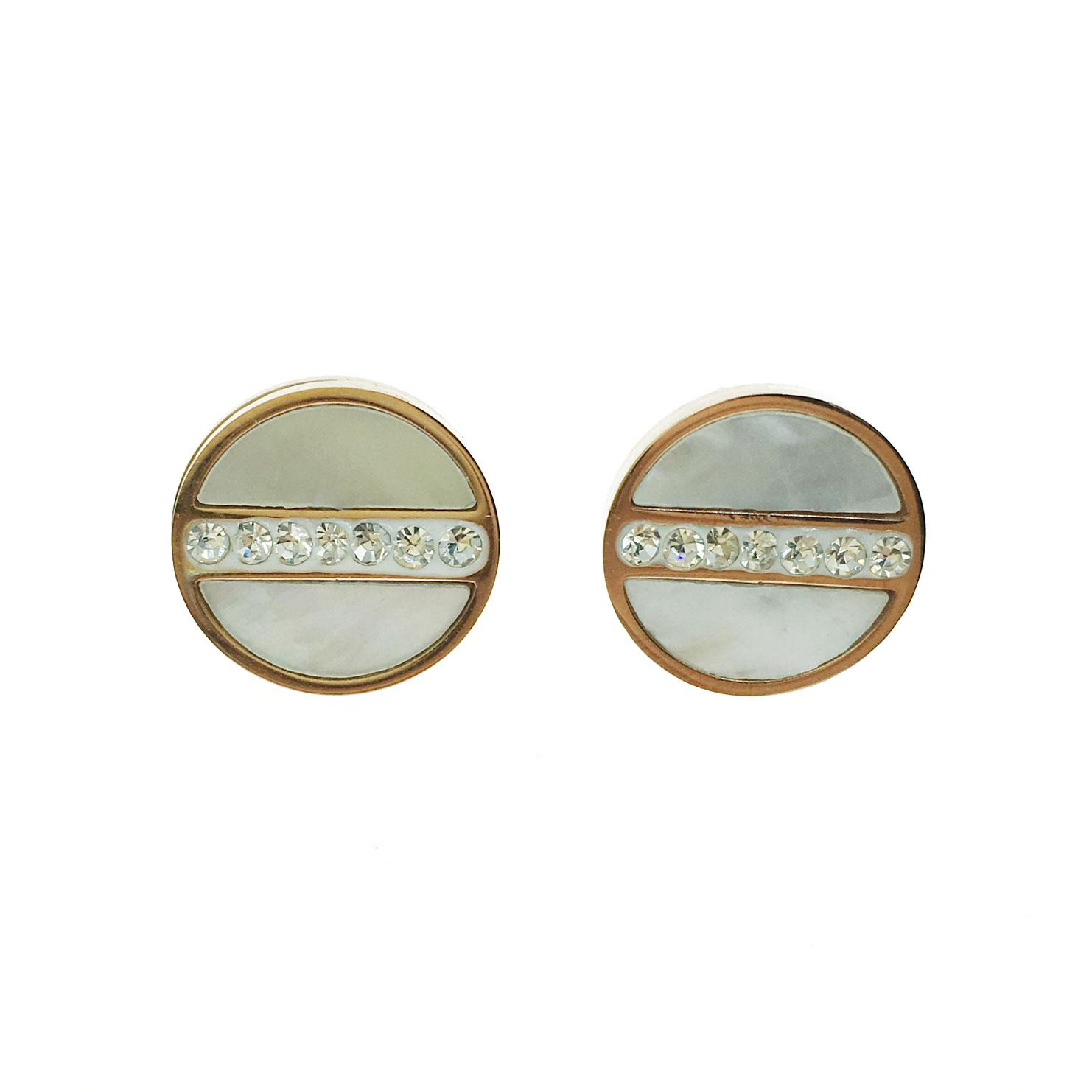 韓國 不銹鋼 水鑽 大理石 圓 金邊 耳針式 耳環