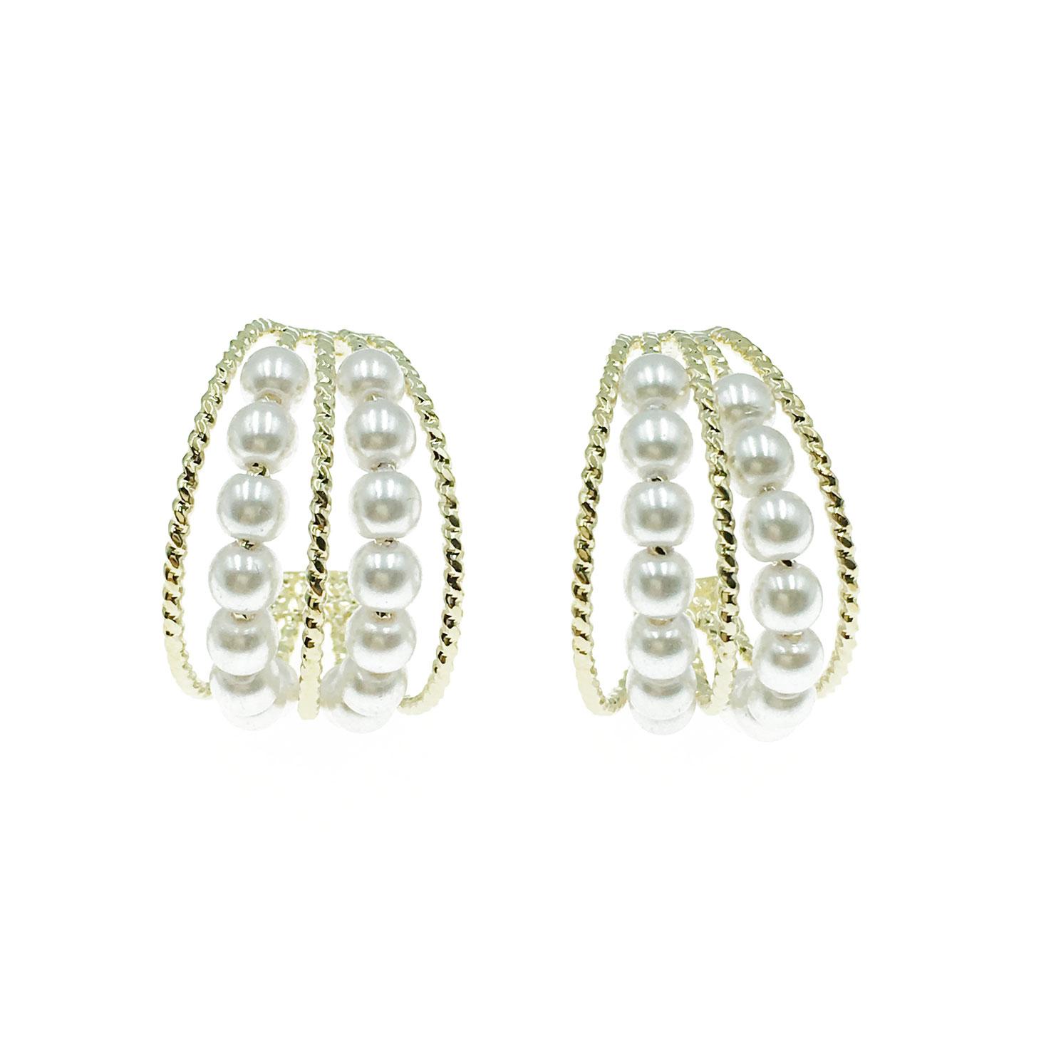 韓國 925純銀 珍珠 半圓 金邊 耳針式 耳環
