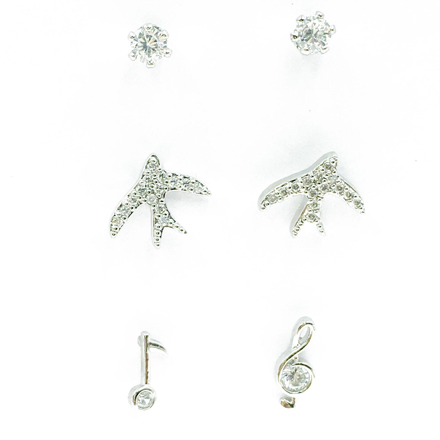 韓國 925純銀 水鑽 音符 燕子 6入組 耳針式 耳環