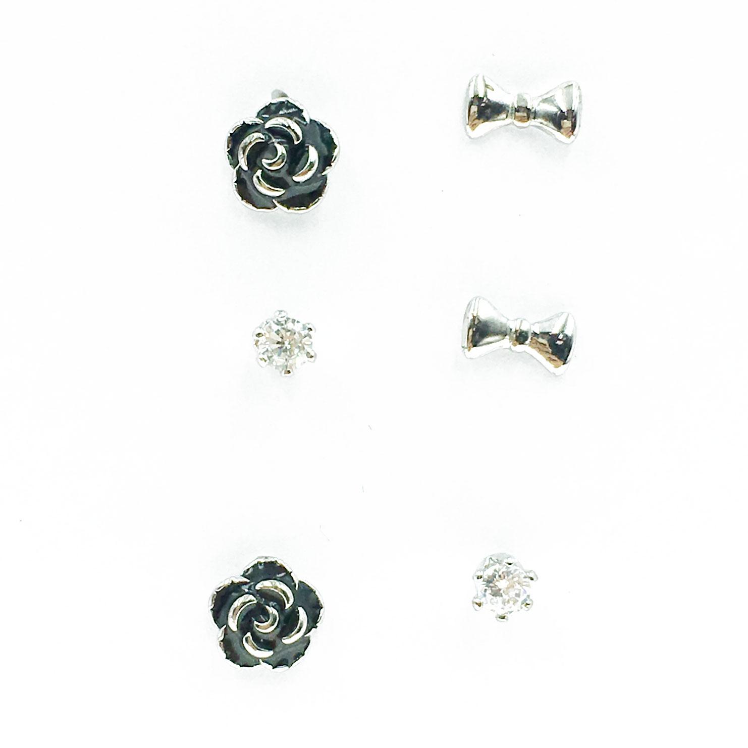 韓國 925純銀 水鑽 蝴蝶結 小香花 6入組 耳針式 耳環