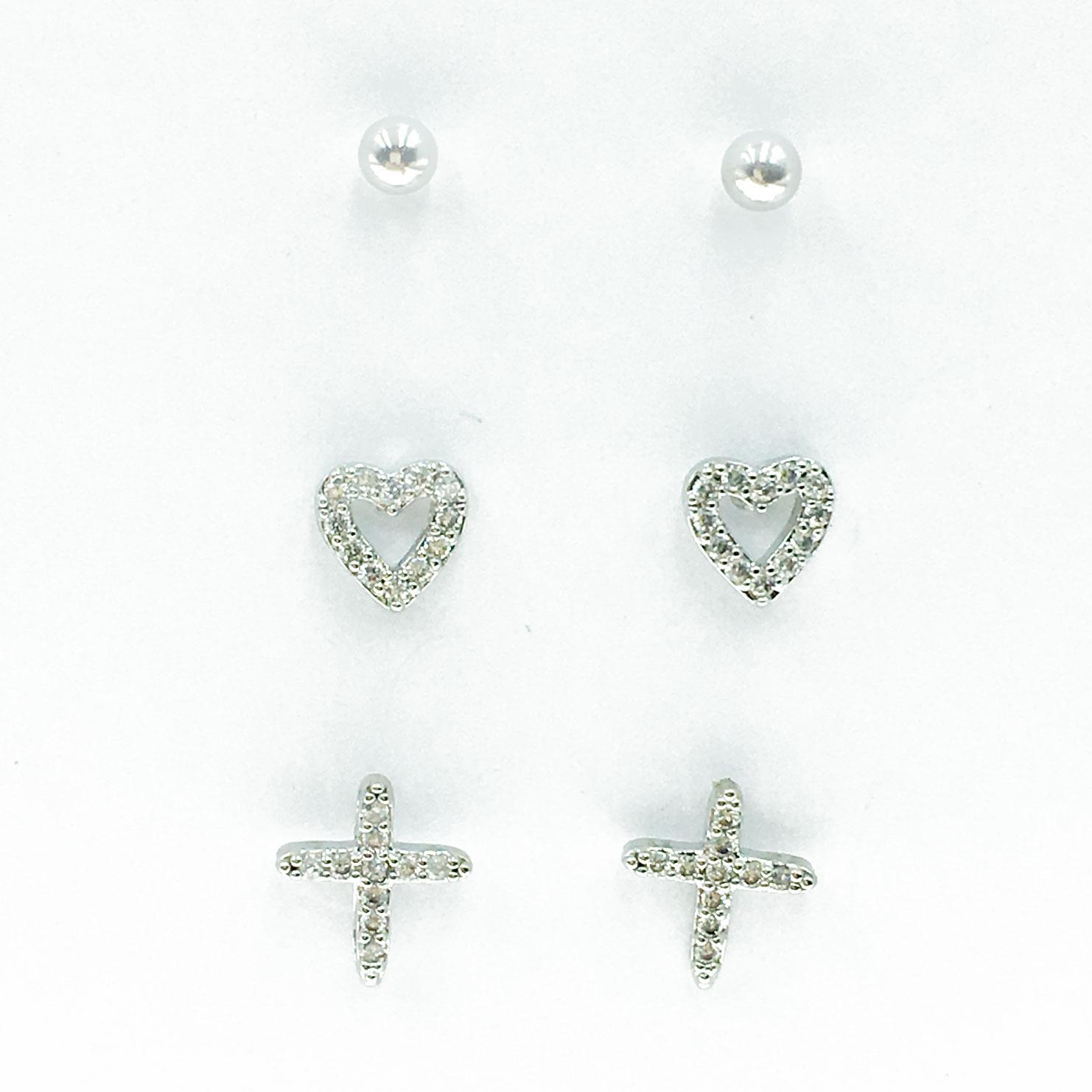 韓國 925純銀 水鑽 愛心 十字 耳針式 耳環