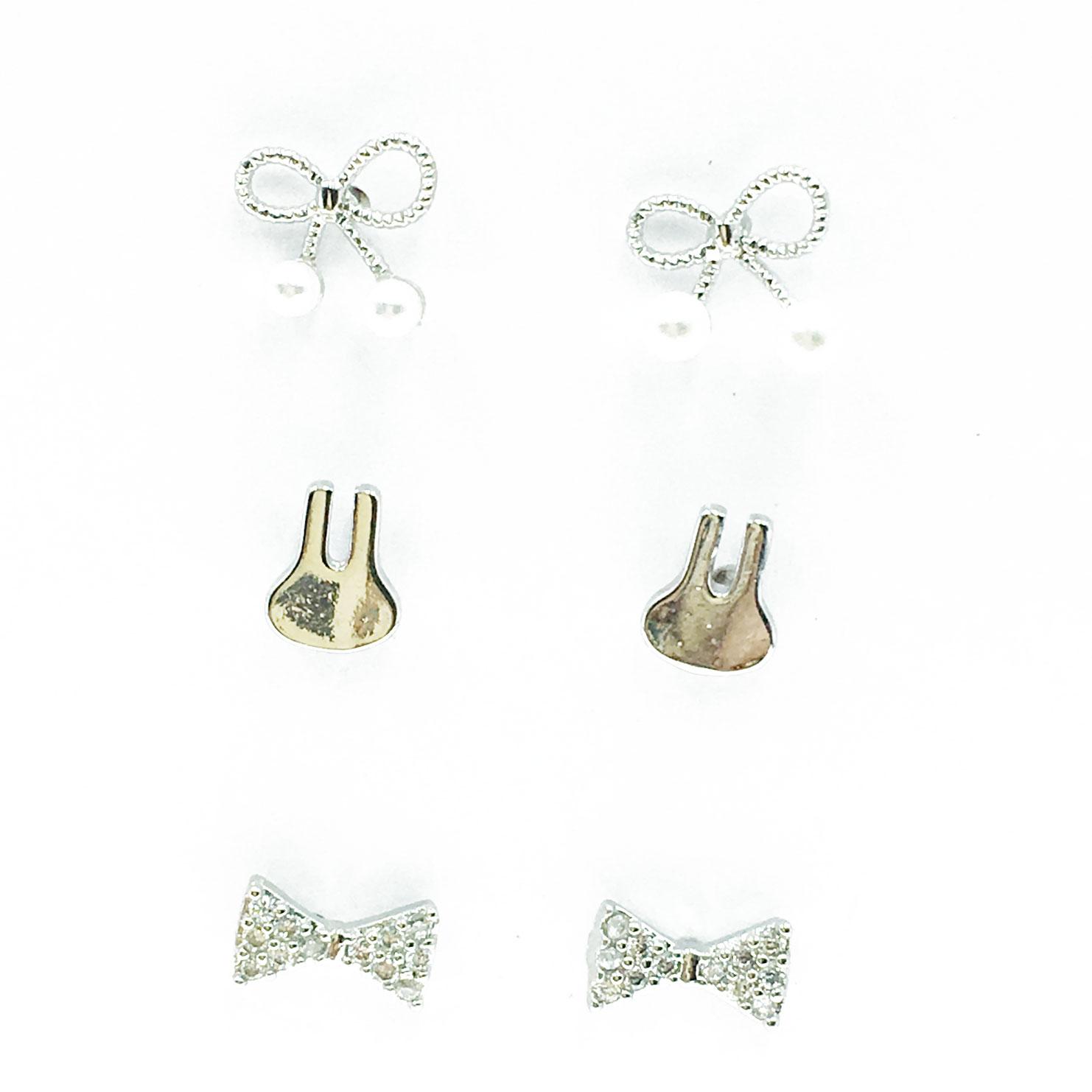 韓國 925純銀 水鑽 蝴蝶結 兔子 珍珠 6入組 耳針式 耳環