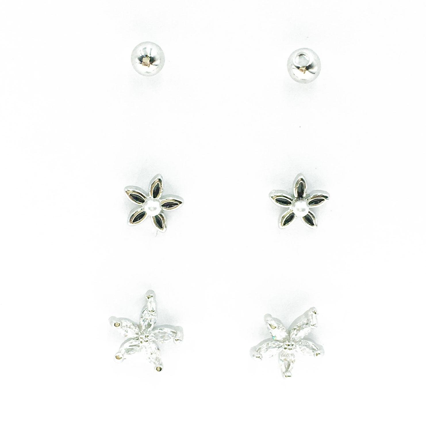 韓國 925純銀 水鑽 珍珠 花朵 6入組 耳針式 耳環