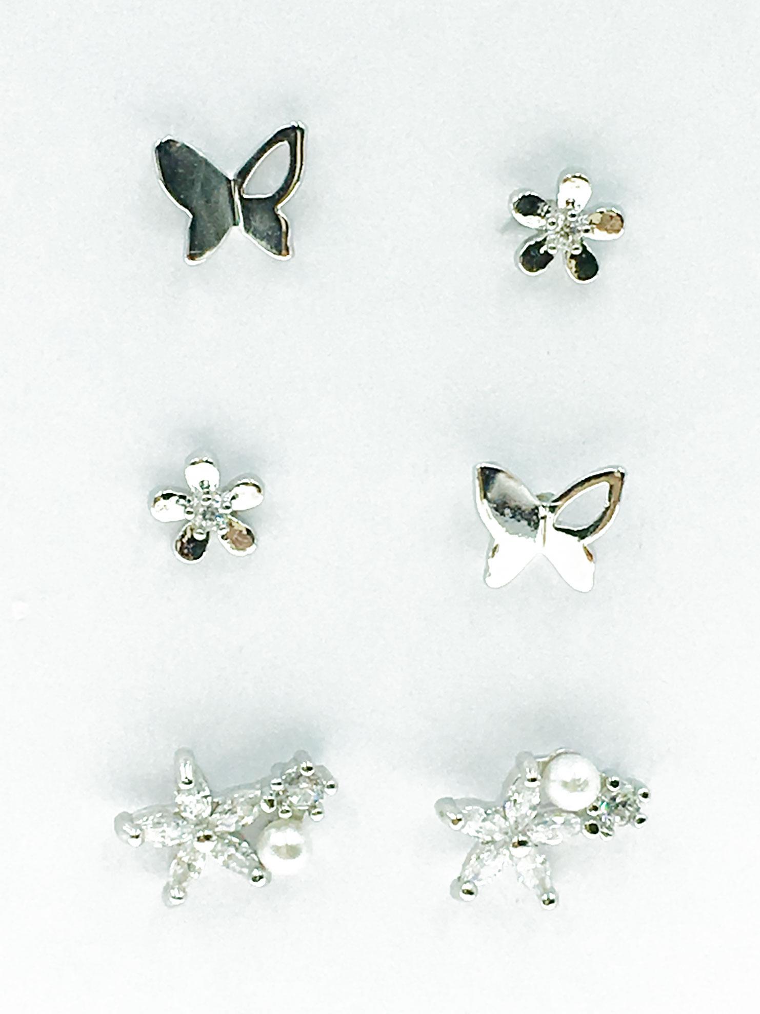 韓國 925純銀 水鑽 珍珠 蝴蝶 花朵 耳針式 耳環