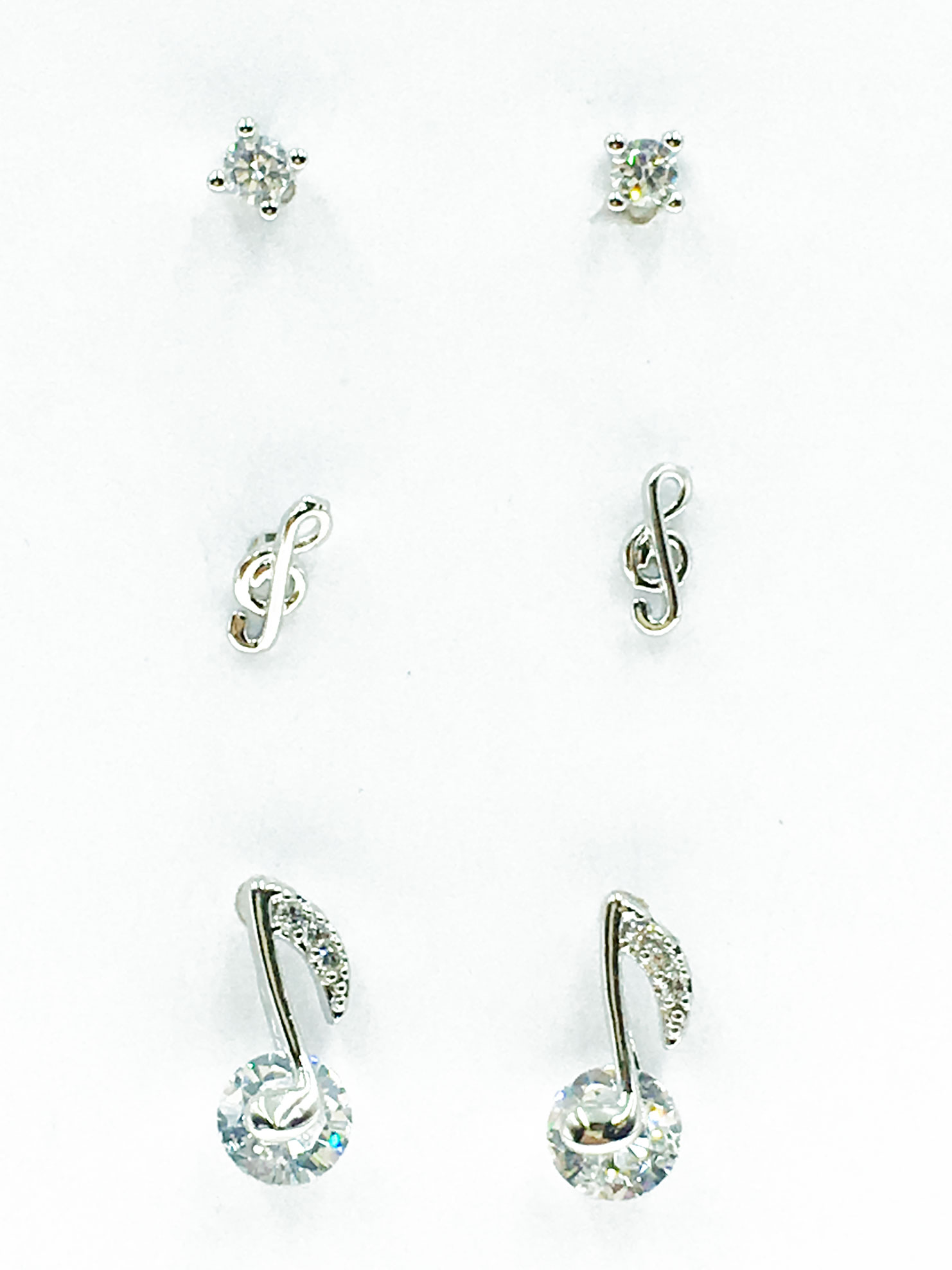 韓國 925純銀 水鑽 音符 6入組 耳針式 耳環