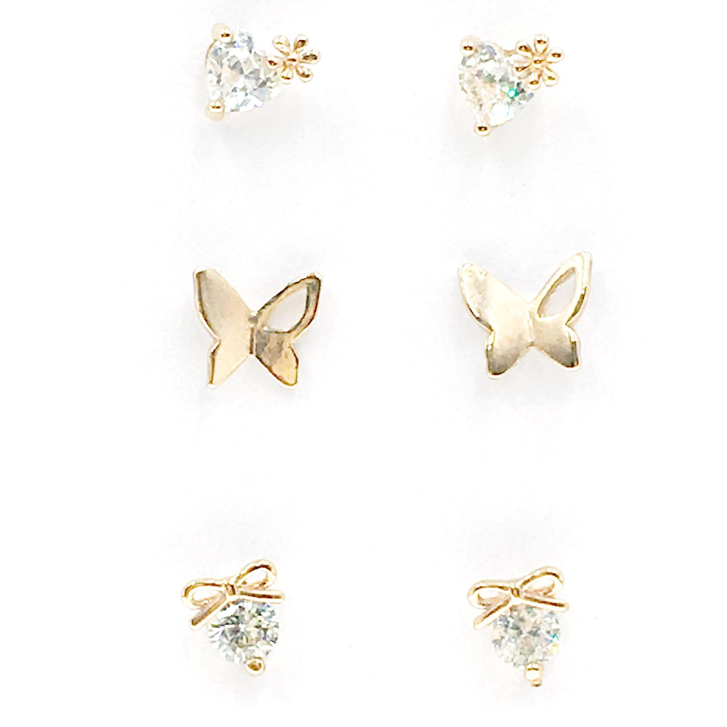 韓國 925純銀 水鑽 花 蝴蝶 蝴蝶結 玫瑰金 6入組 耳針式 耳環