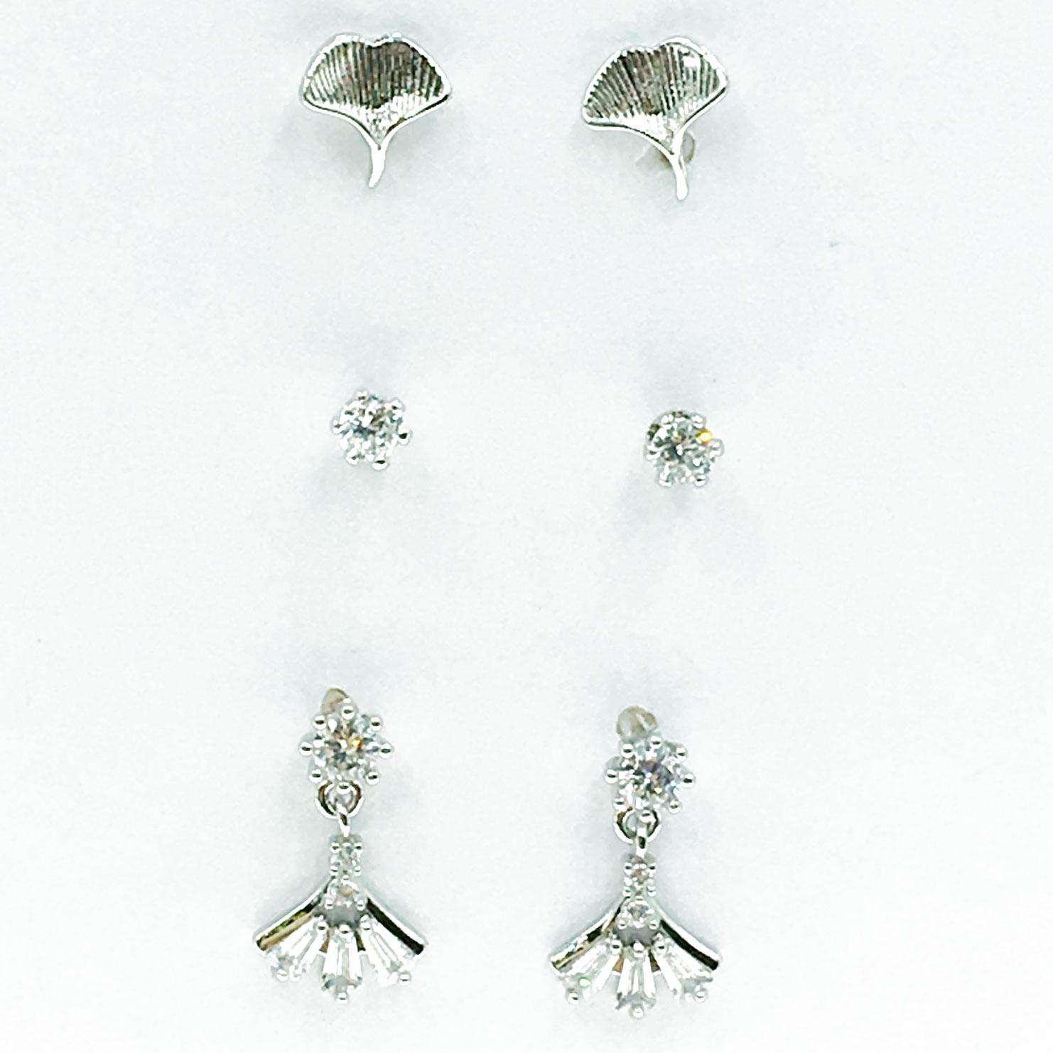 韓國 925純銀 水鑽 葉子 6入組 垂墜感 耳針式 耳環