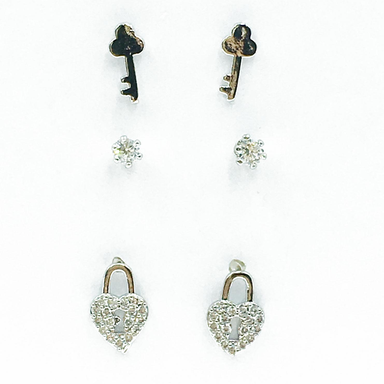 韓國 925純銀 水鑽 愛心 鑰匙 鎖 6入組 耳針式 耳環