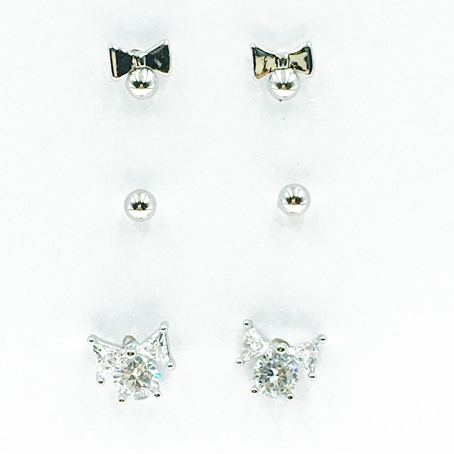 韓國 925純銀 水鑽 蝴蝶結 6入組 耳針式 耳環