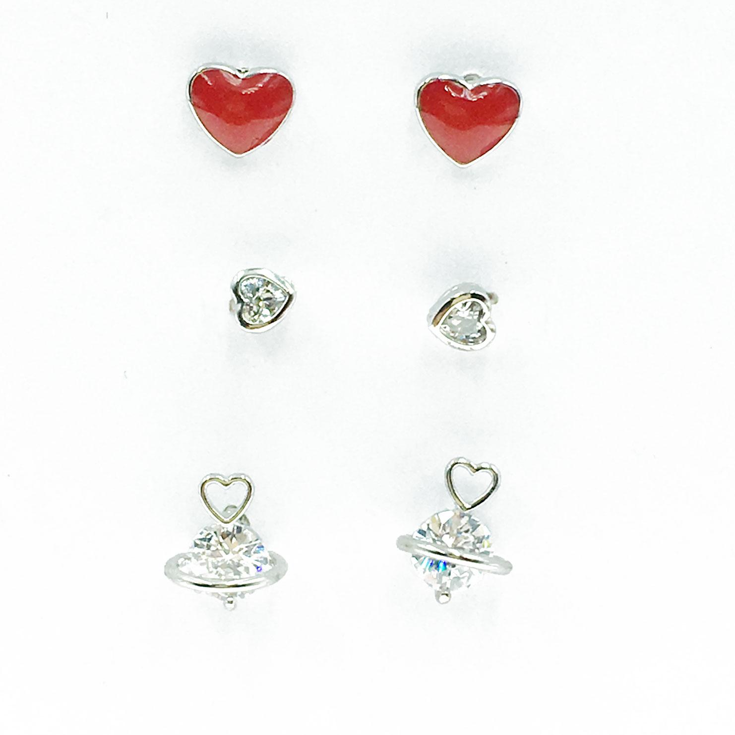 韓國 925純銀 水鑽 愛心 星球 6入組 耳針式 耳環