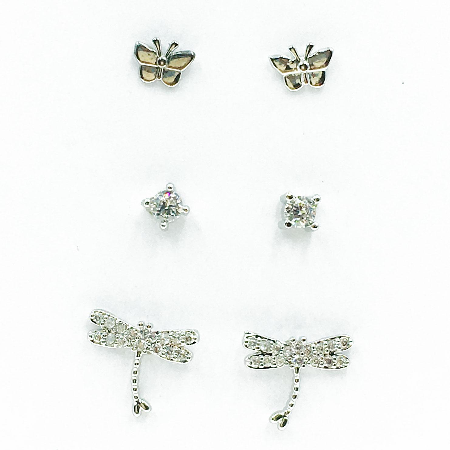 韓國 925純銀 水鑽 蝴蝶 蜻蜓 6入組 耳針式 耳環