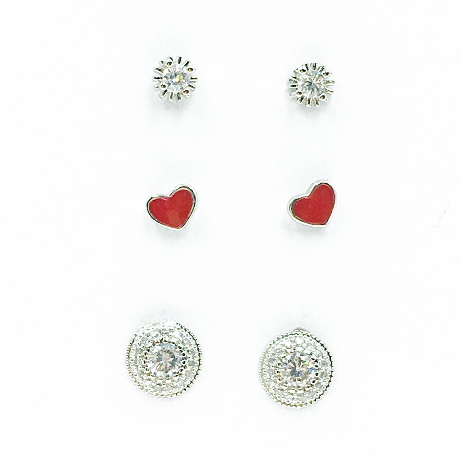 韓國 925純銀 水鑽 愛心 6入組 耳針式 耳環