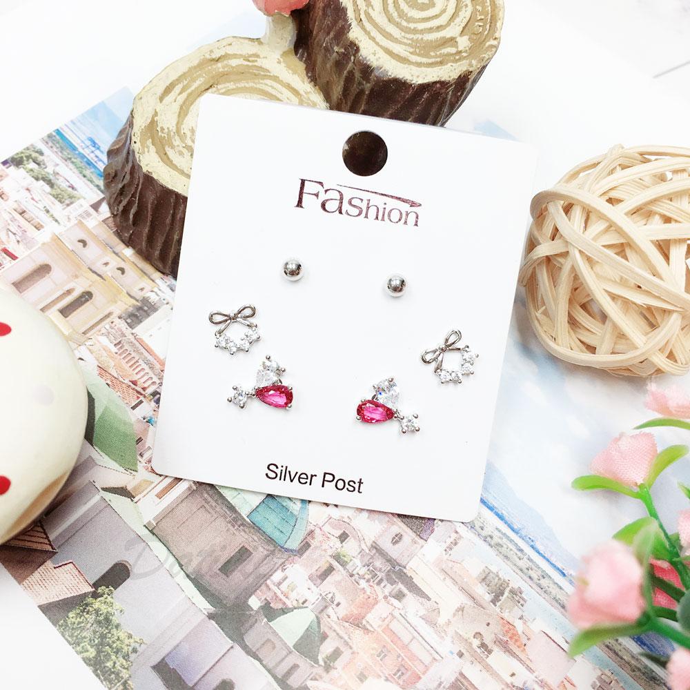 韓國 925純銀 水鑽 蝴蝶結 愛心 珠珠 彩鑽 六入組 耳針式 耳環