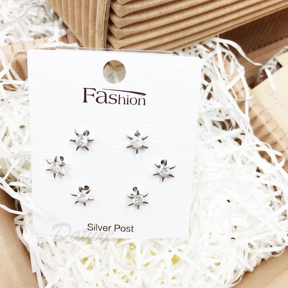 韓國 925純銀 水鑽 六星 6入組 耳針式 耳環