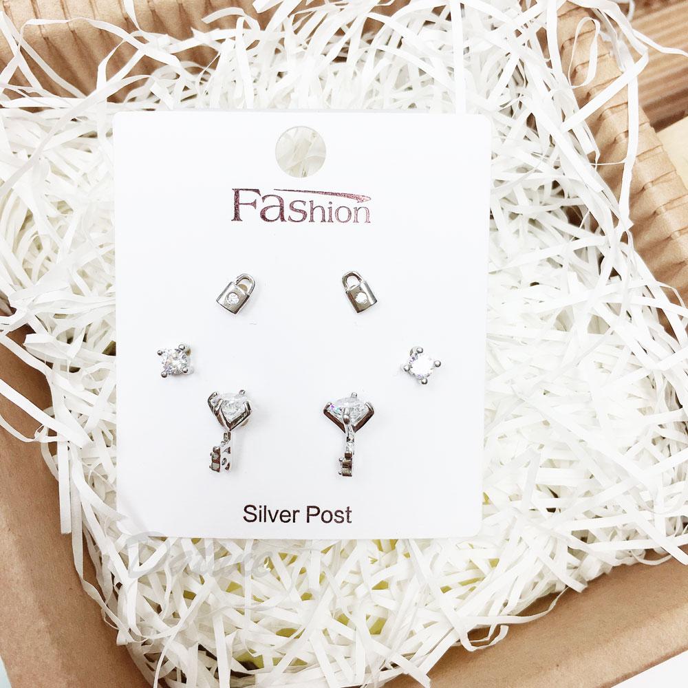 韓國 925純銀 水鑽 鑰匙 愛心 鎖  6入組 耳針式 耳環