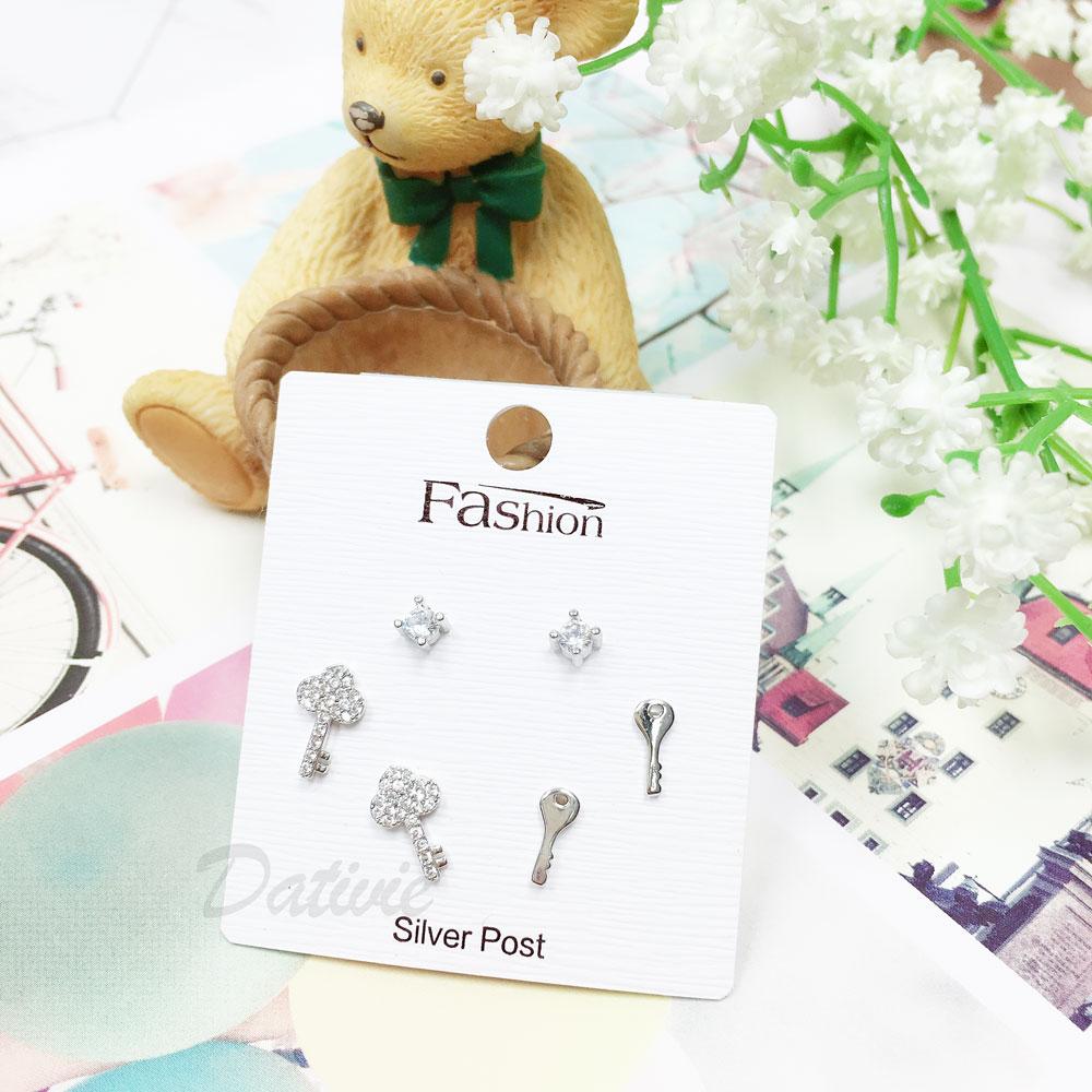 韓國 925純銀 水鑽 鑰匙 6入組 耳針式 耳環