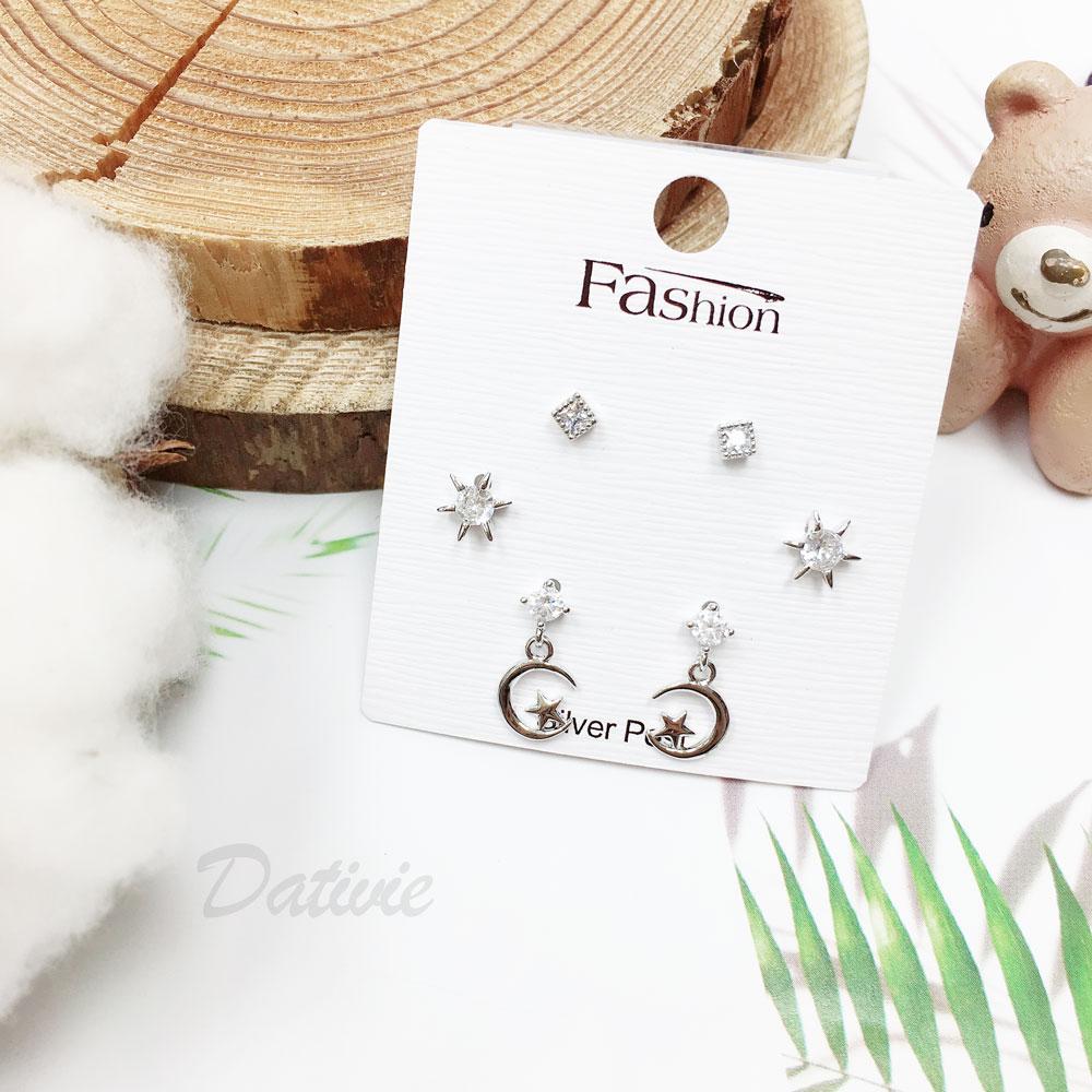 韓國 925純銀 水鑽 六星 月亮 星星 方形 6入組 垂墜感 耳針式 耳環