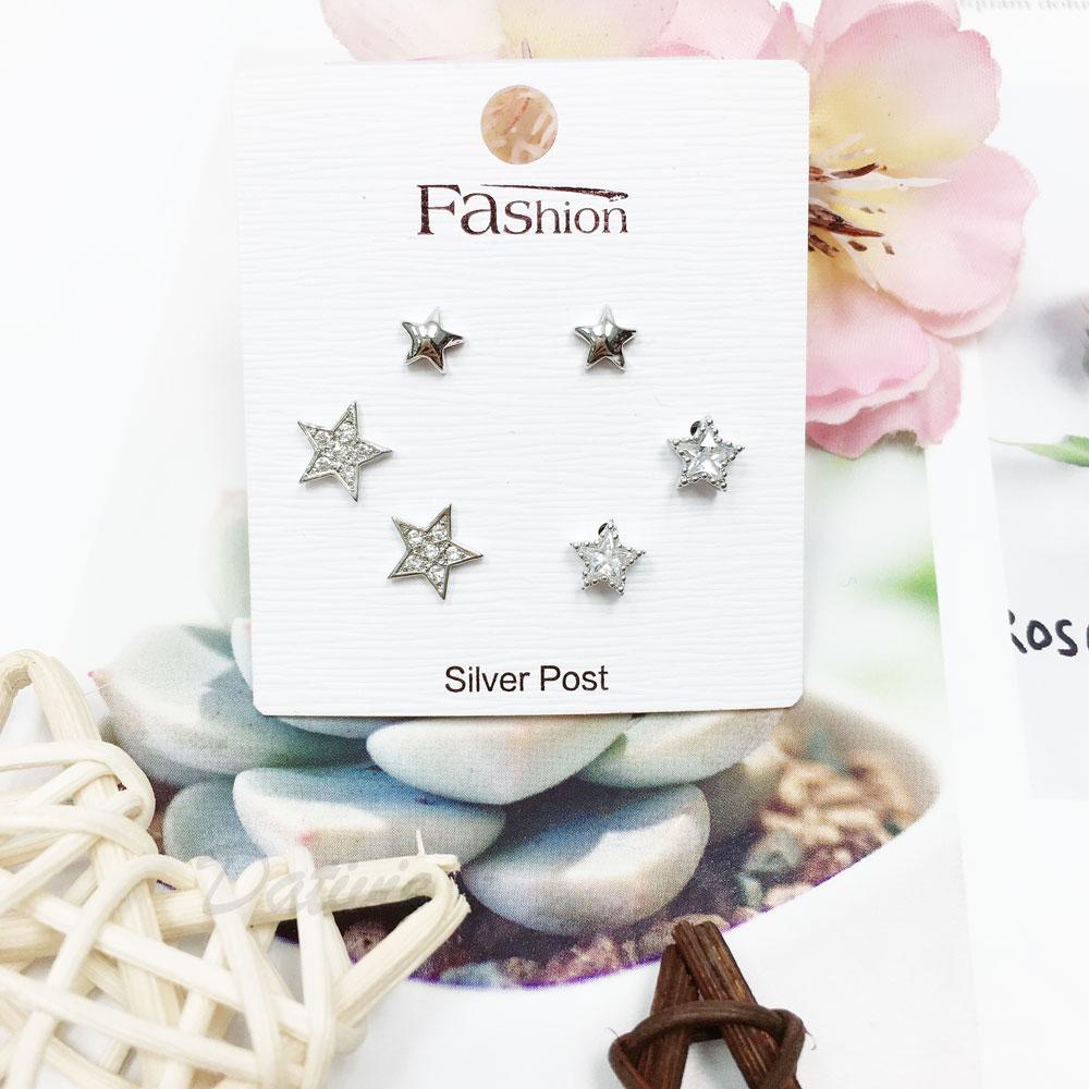 韓國 925純銀 水鑽 星星 6入組 耳針式 耳環