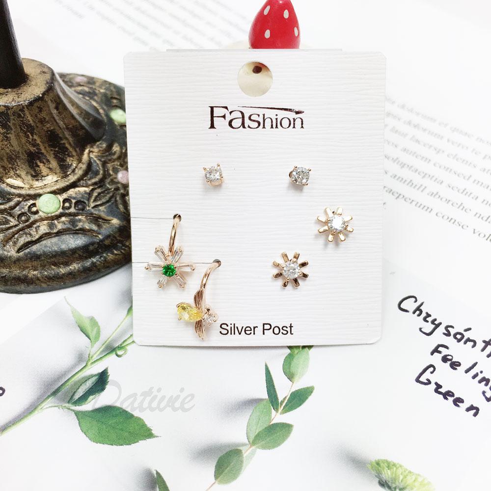 韓國 925純銀 水鑽 金邊 花 蜜蜂 耳骨環 6入組 耳針式 耳環