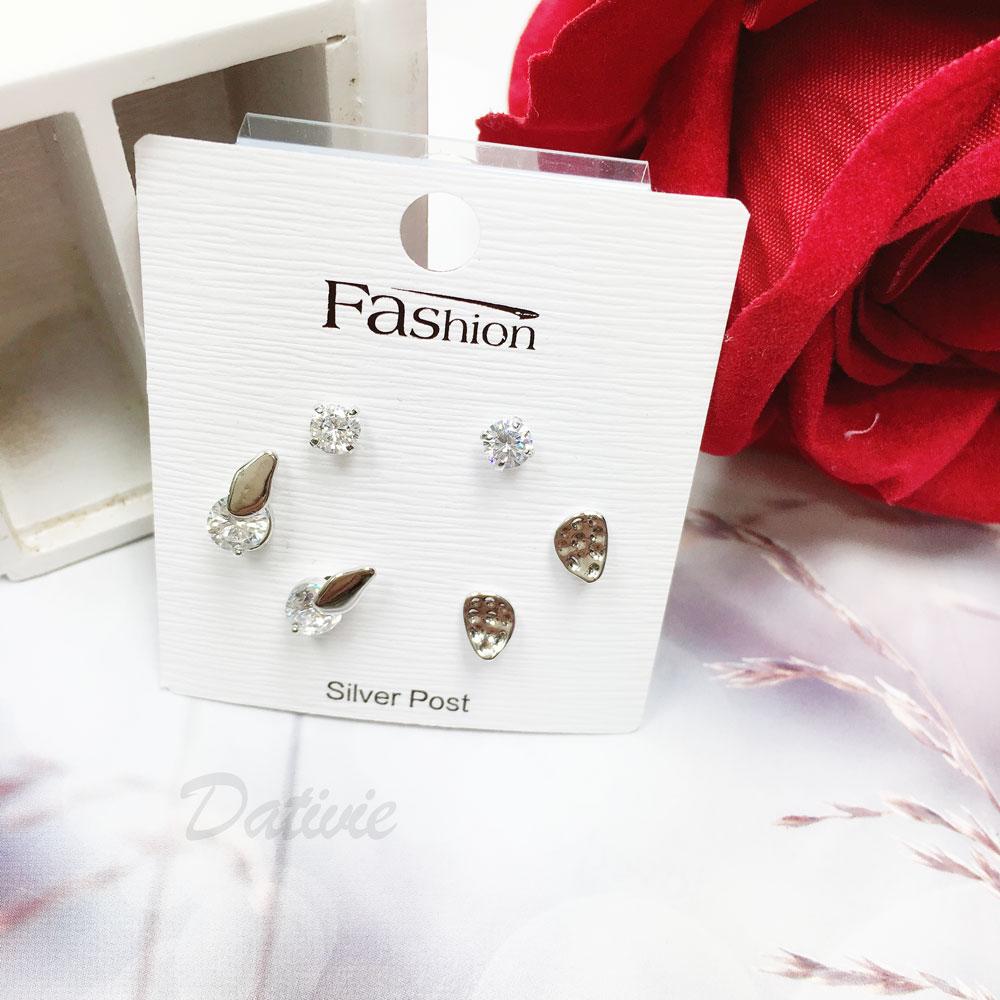 韓國 925純銀 水鑽 葉子  6入組 耳針式 耳環