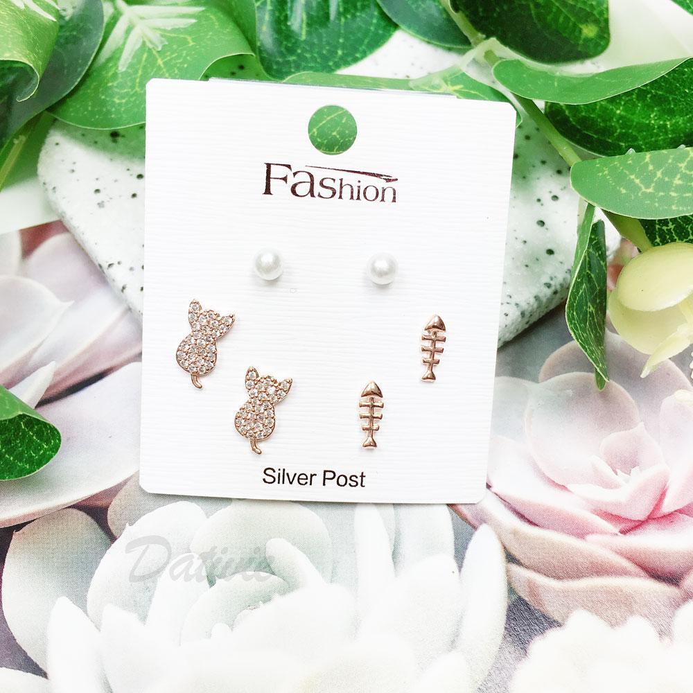 韓國 925純銀 水鑽 珍珠 貓咪 玫瑰金 6入組 耳針式 耳環