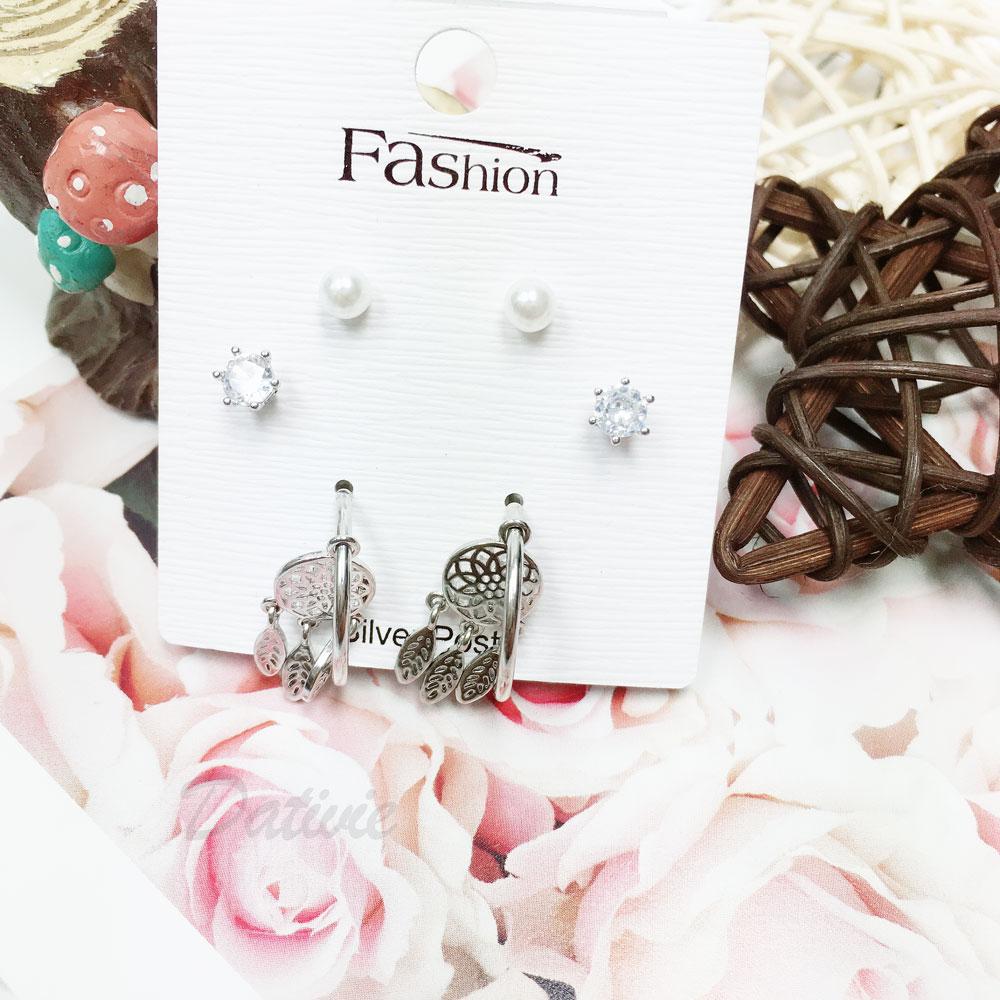韓國 925純銀 水鑽 珍珠 捕夢網 6入組 垂墜感  耳針式 耳環