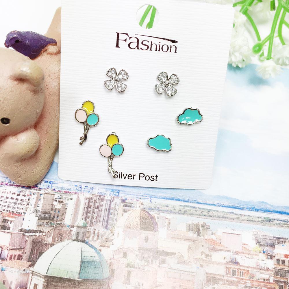 韓國 925純銀 水鑽 幸運草 氣球 雲朵 6入組 耳針式 耳環