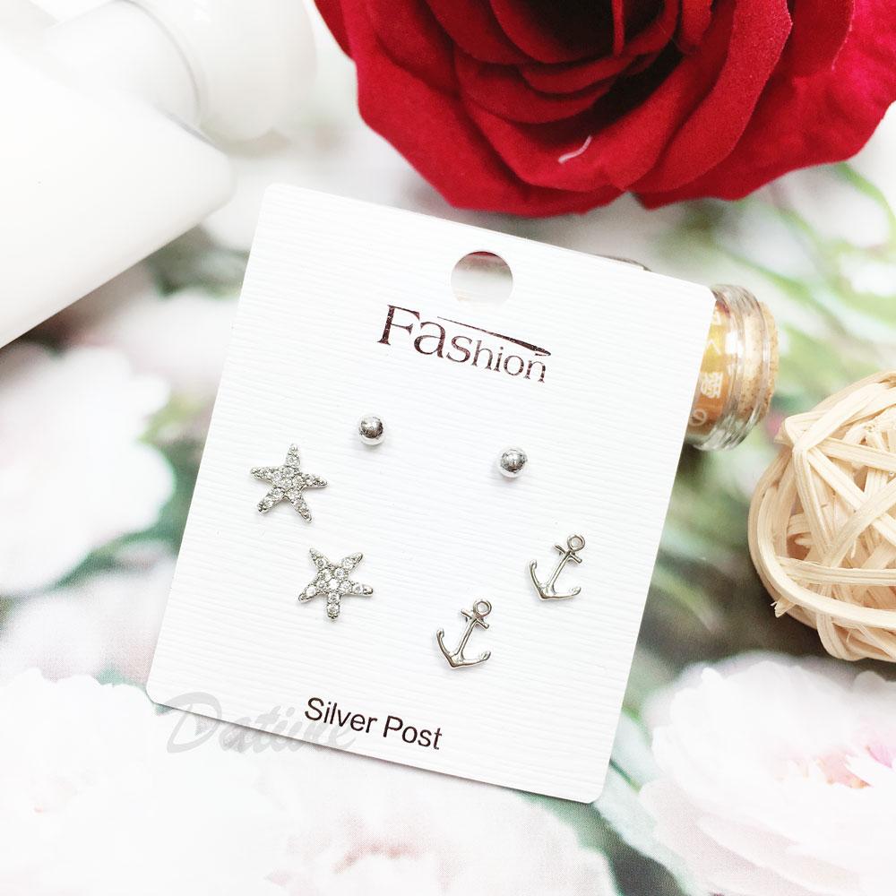 韓國 925純銀 水鑽 海星 錨  6入組  耳針式 耳環