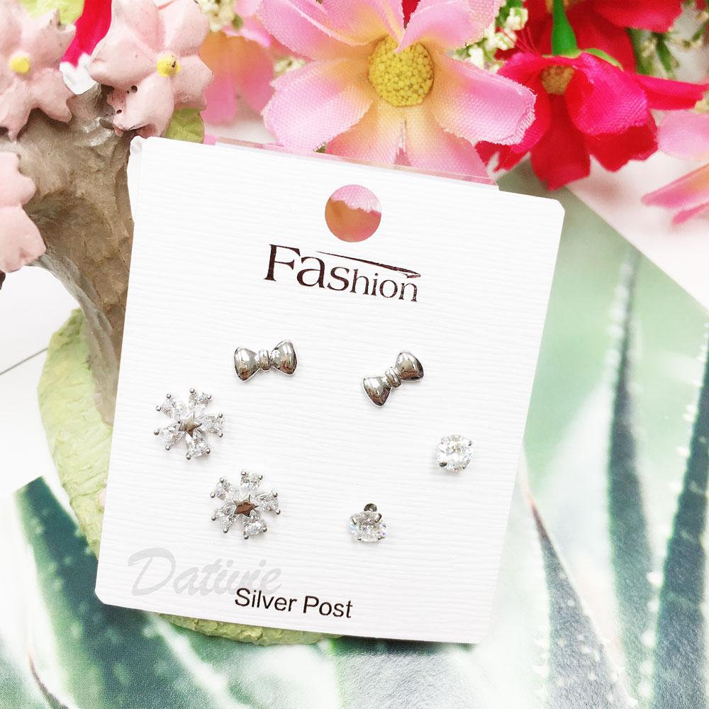 韓國 925純銀 水鑽 星星 蝴蝶結 花  6入組 耳針式 耳環