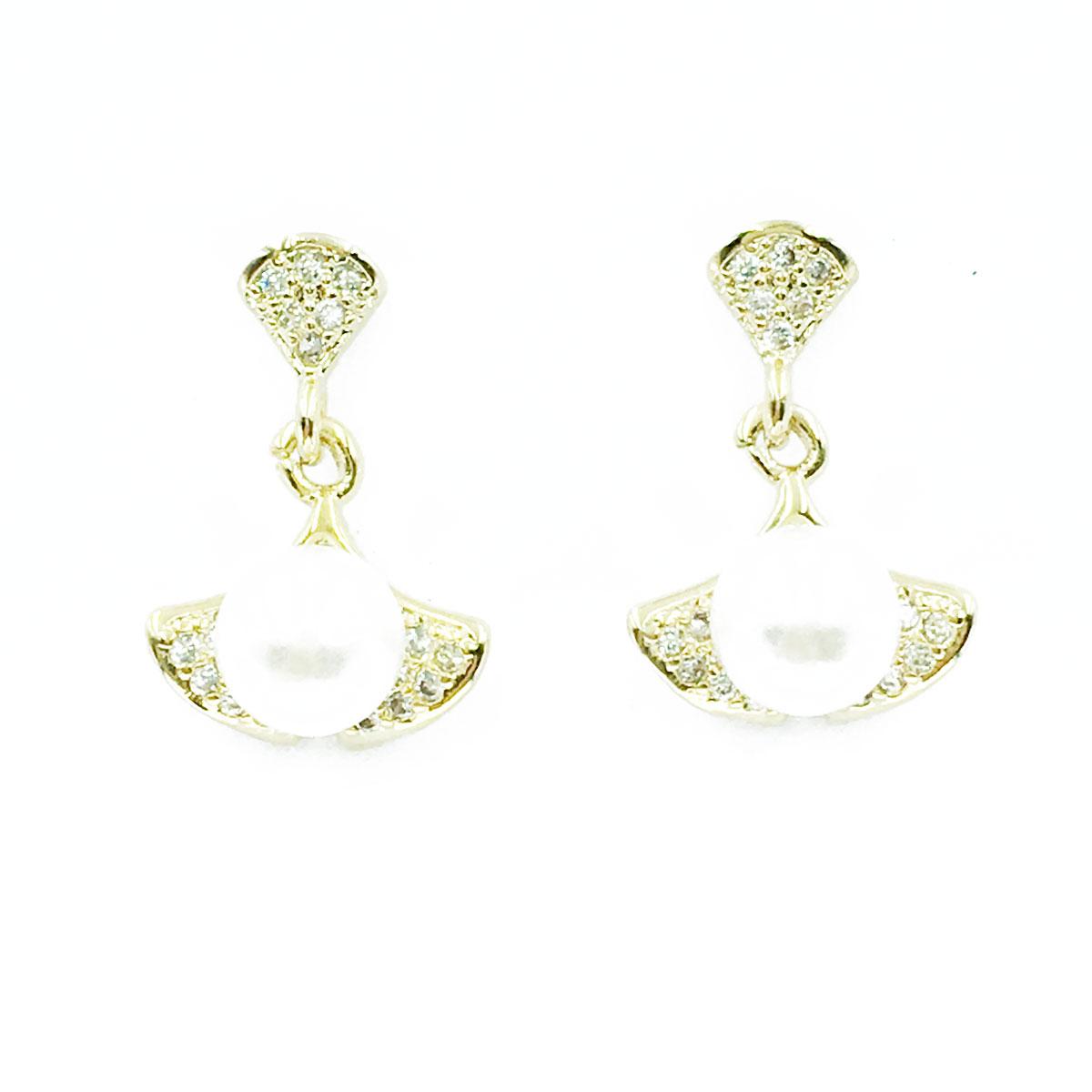 韓國 925純銀 水鑽 珍珠 葉片 垂墜感 耳針式 耳環
