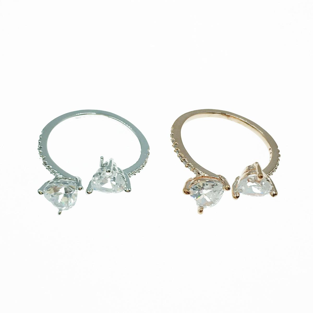 韓國 愛心 水鑽 精緻款 銀 玫瑰金 開口式戒指