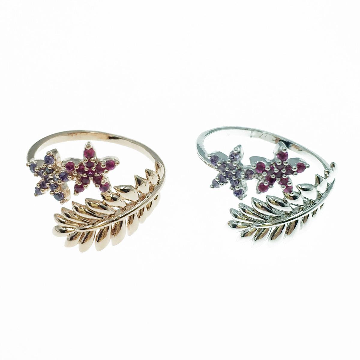 韓國 明星款 葉子 水鑽花 銀 玫瑰金 開口可調式戒指