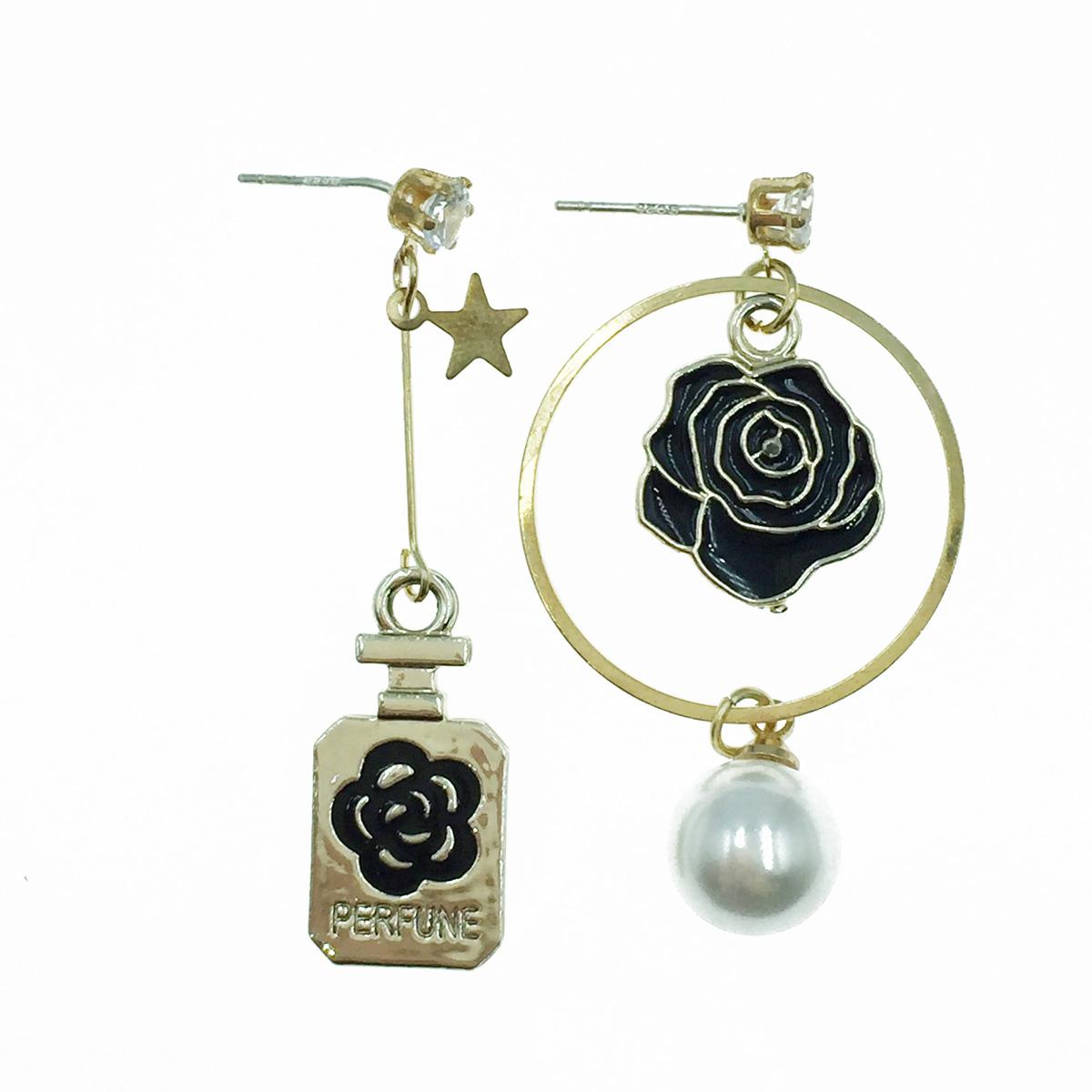 韓國 925純銀 小香風 花 水鑽 珍珠 垂墜感 耳針式耳環